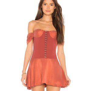 NWT NBD Aabria Renaissance rust skater dress